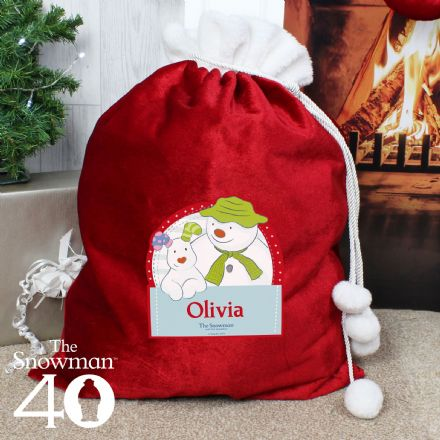 Personalised The Snowman and the Snowdog Pom Pom Christmas Sack